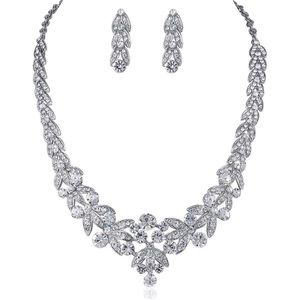 Silver Rhinestone Earring and Necklace Set